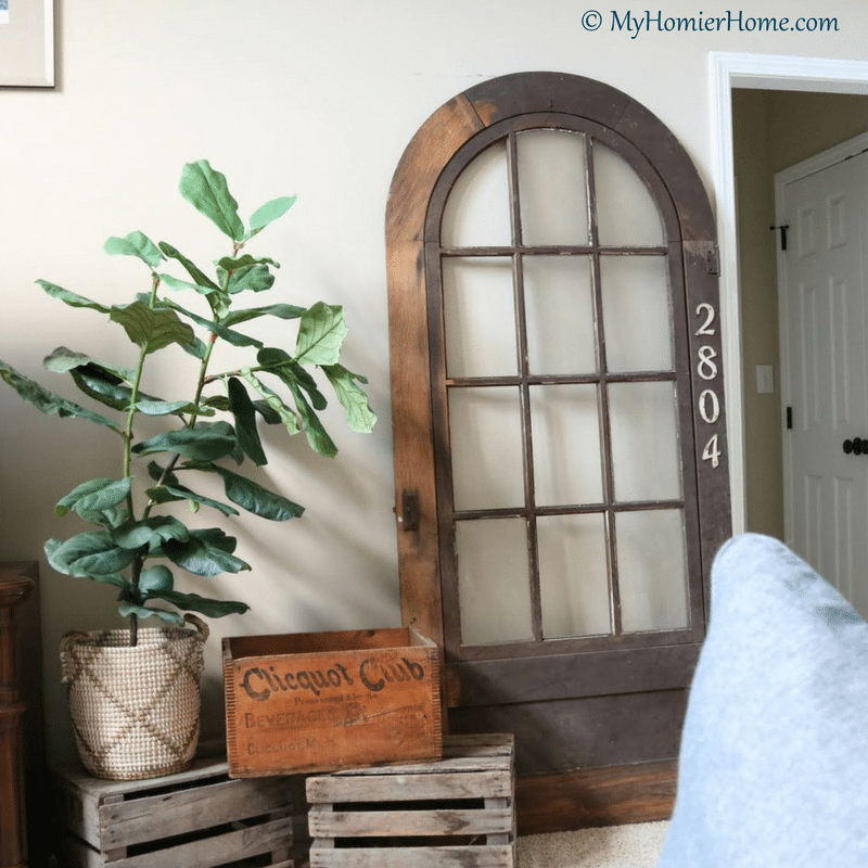 Antique door and crates