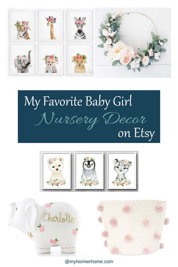 I've been scouring the internet for baby girl nursery decor items and I have rounded up 17 of my favorites for you today. Come check out all the cuteness! #etsyfinds #girlnurserydecor #etsygirlnurserydecor #girlnursery #nurserydecor