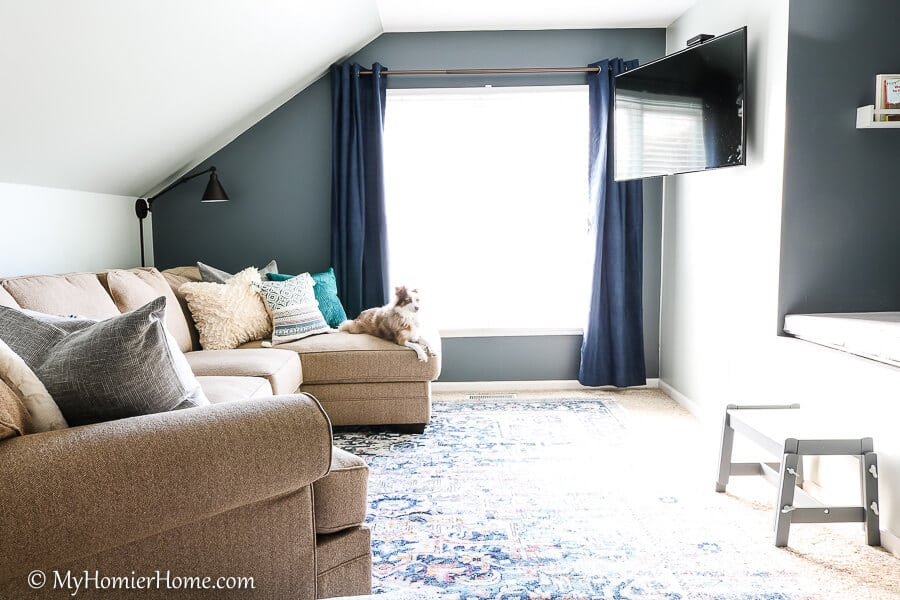 This little guy is enjoying the new bonus room makeover. Check out the final reveal!