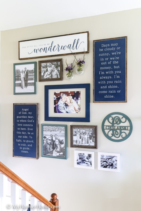 Looking to create the perfect gallery wall? These 7 steps will ensure you get it right the first time! Pay attention to the color scheme and how the triangle of colors keeps the gallery balanced.