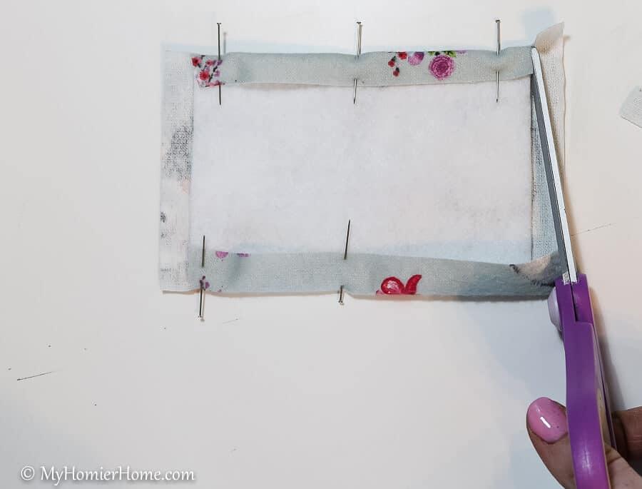 Trim corners to create your DIY door muff.