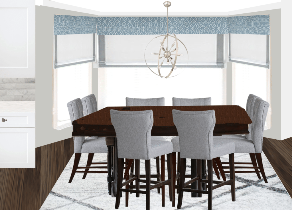Blue, gray, and neutral dining area