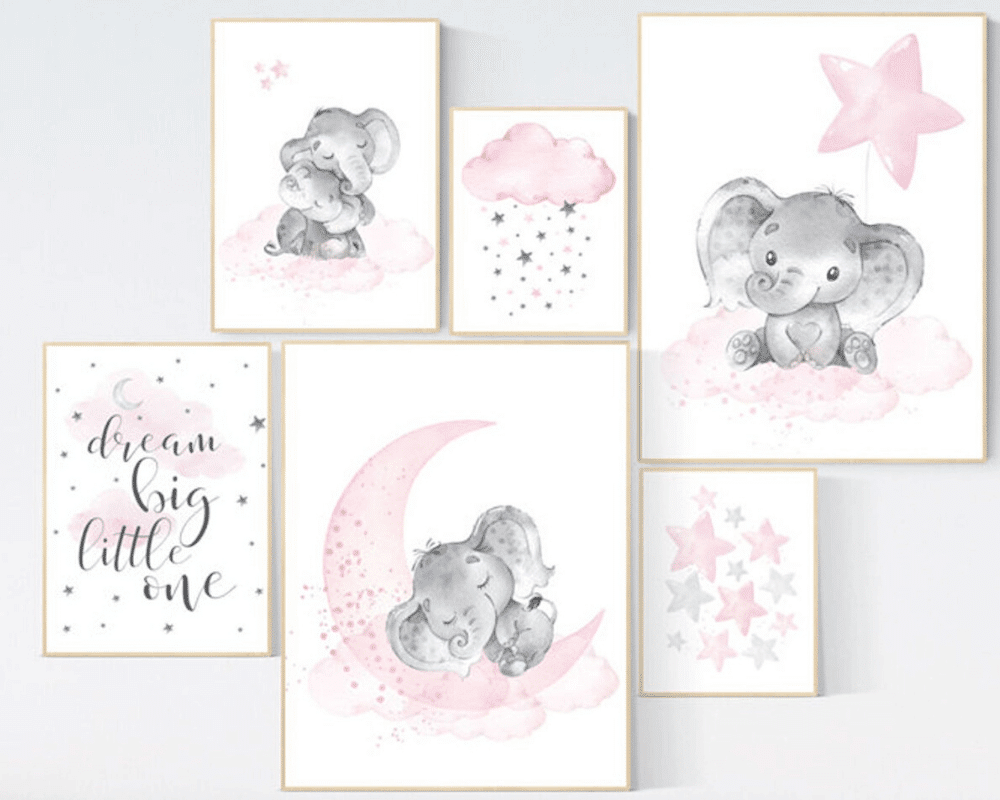 Girl Nursery Decor - Elephant Prints