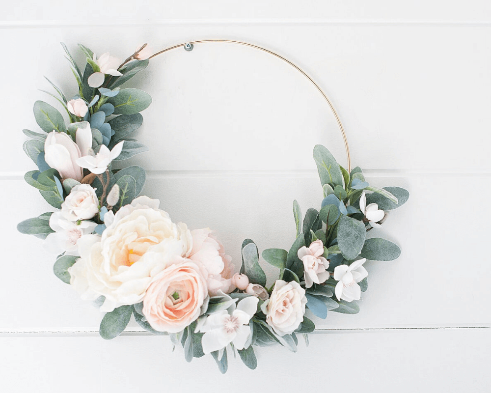 Girl Nursery Decor - Modern Birch Floral Wreath