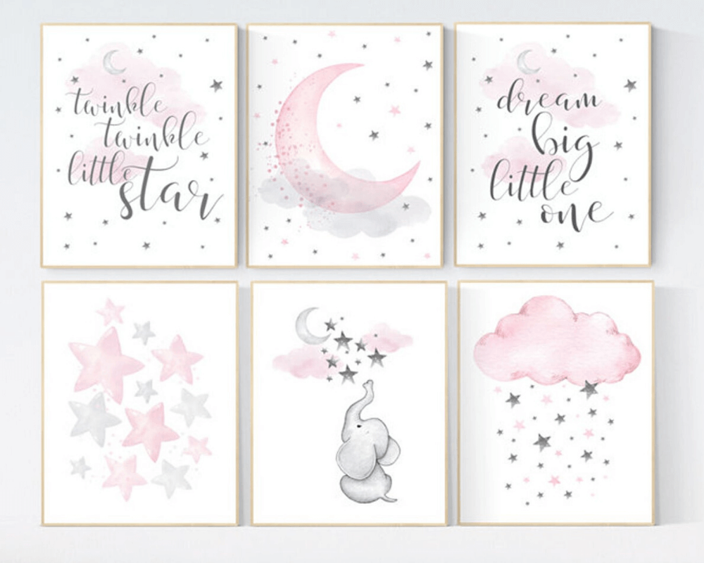 Girl Nursery Decor - More Elephant Prints