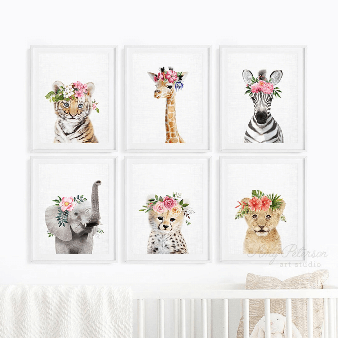 Girl Nursery Decor - Safari Animals Floral Crowns