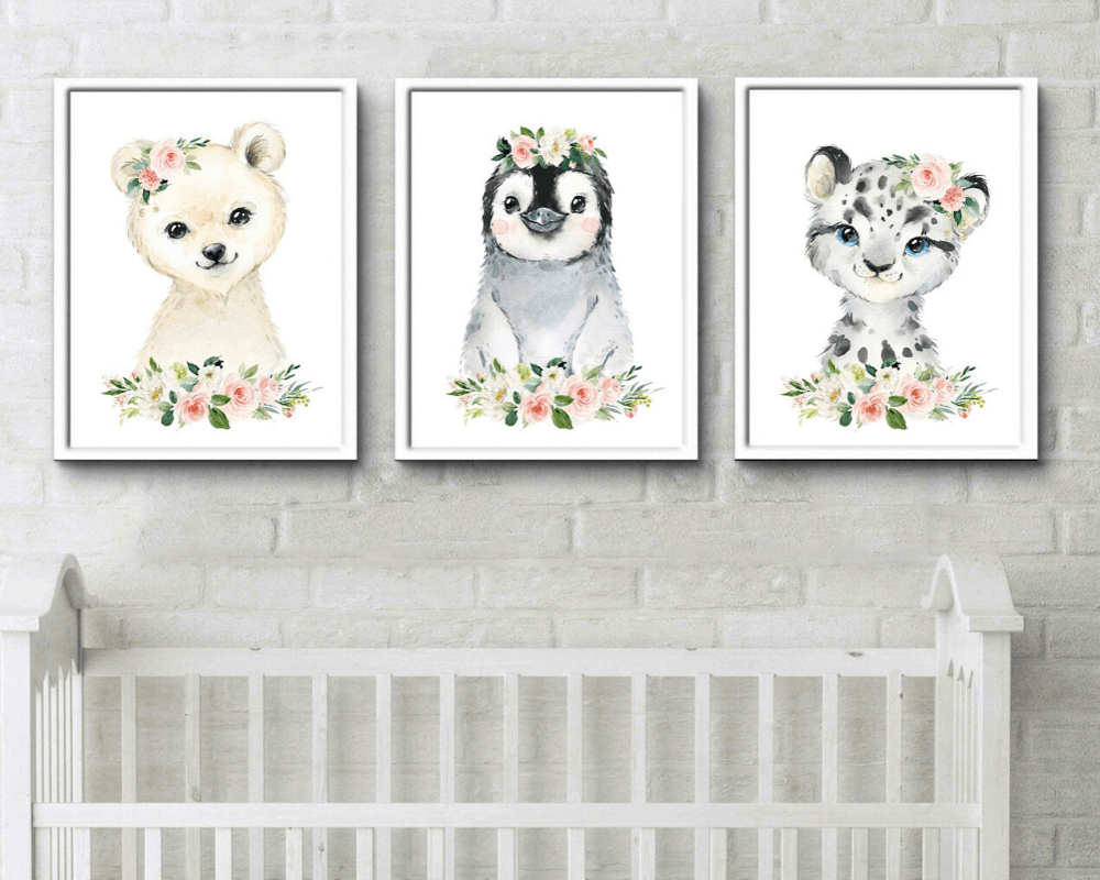 Girl Nursery Decor - Watercolor Animal Print