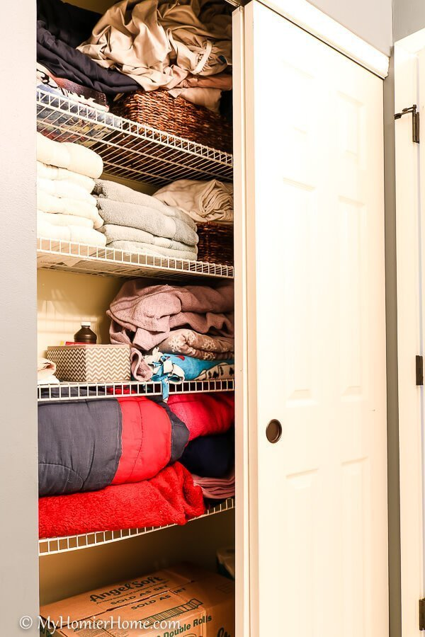 Things falling on you when you open your linen closet? Wondering what this stuff even is? Take back your closet by following my tips to get organized!