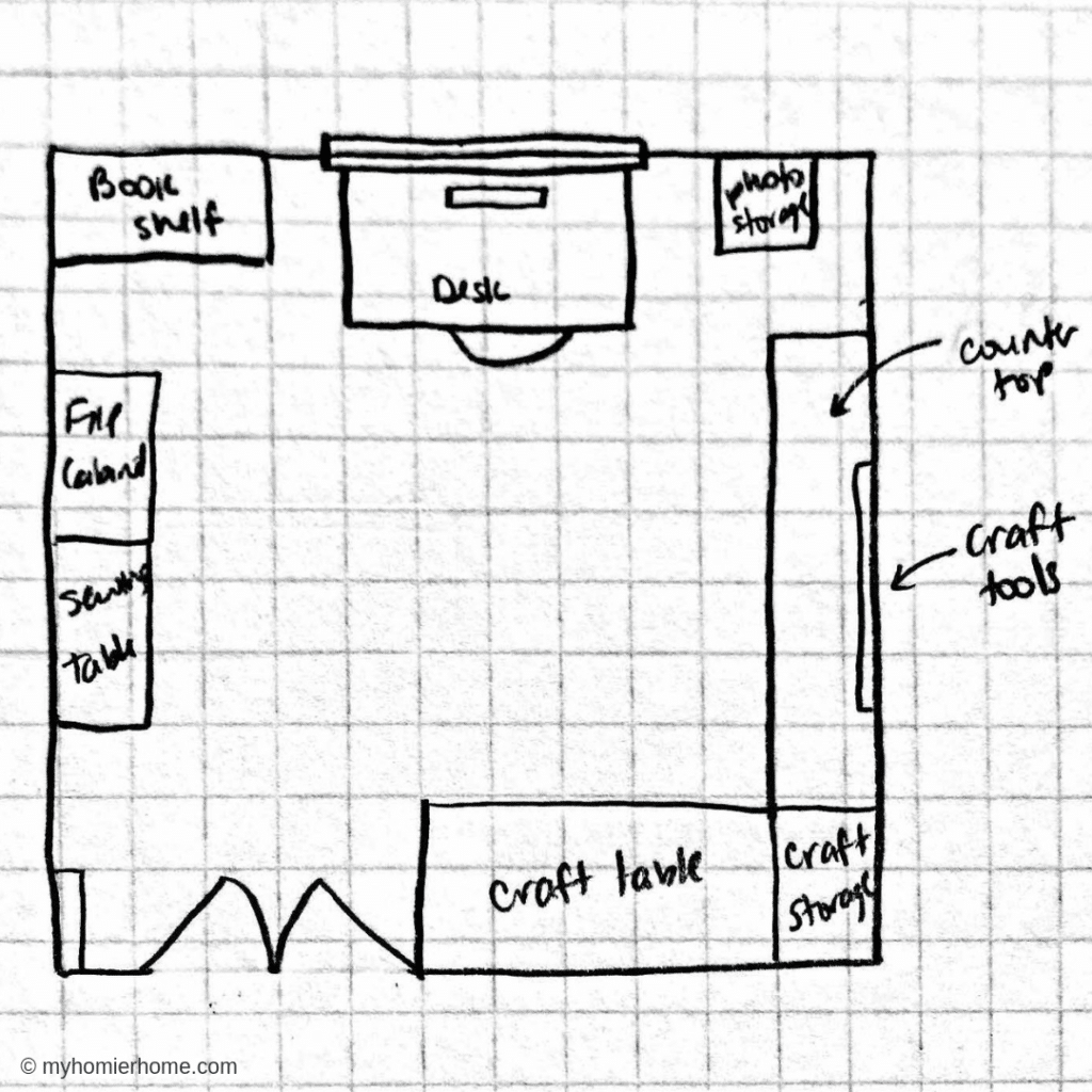 The floor plan for my Home Office Meets Craft Room One Room Challenge Project!