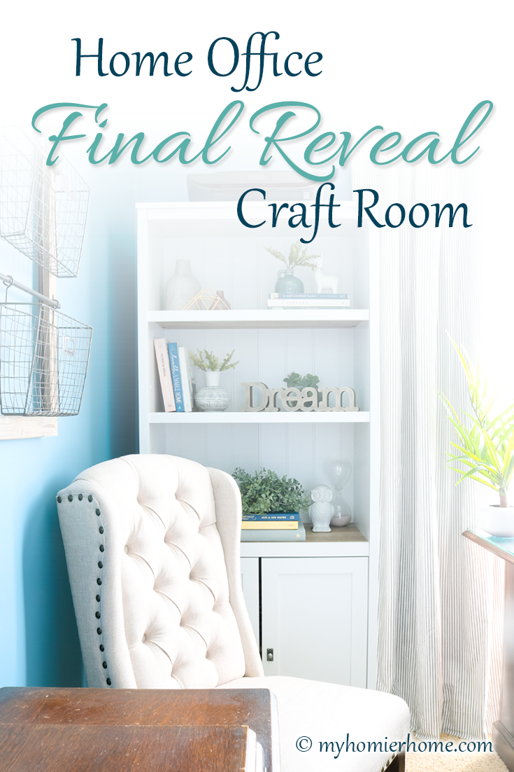 Looking for inspiration for your home office/craft room? Come check out what I did in my final reveal, including a new light fixture, a statement ceiling, and all kinds of organization!