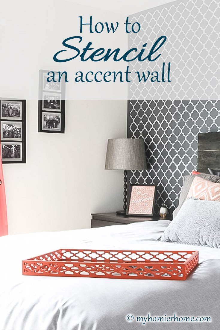 Everything you need to know about how to stencil an accent wall. Check out my tips!