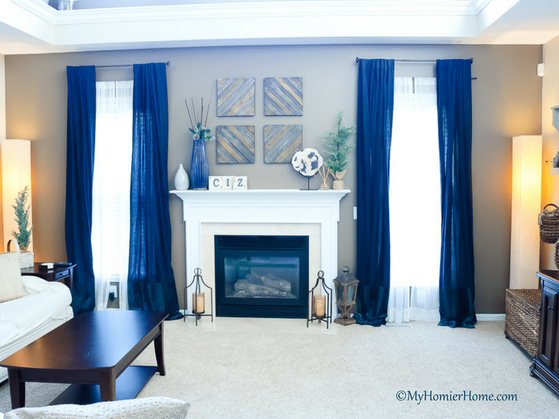 Navy Curtains Living Room