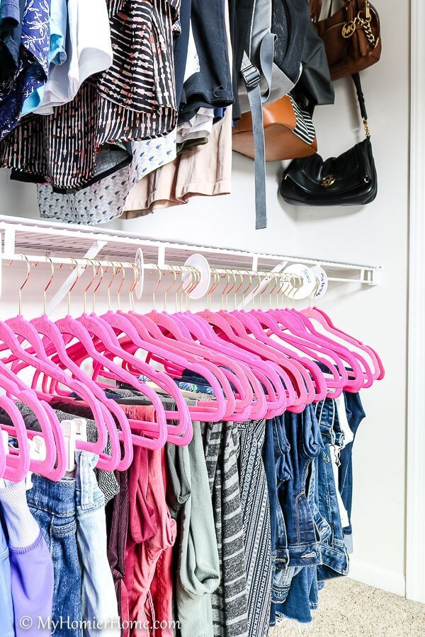 When organizing your closet, a great investment is all the same hangers, preferably slim hangers.