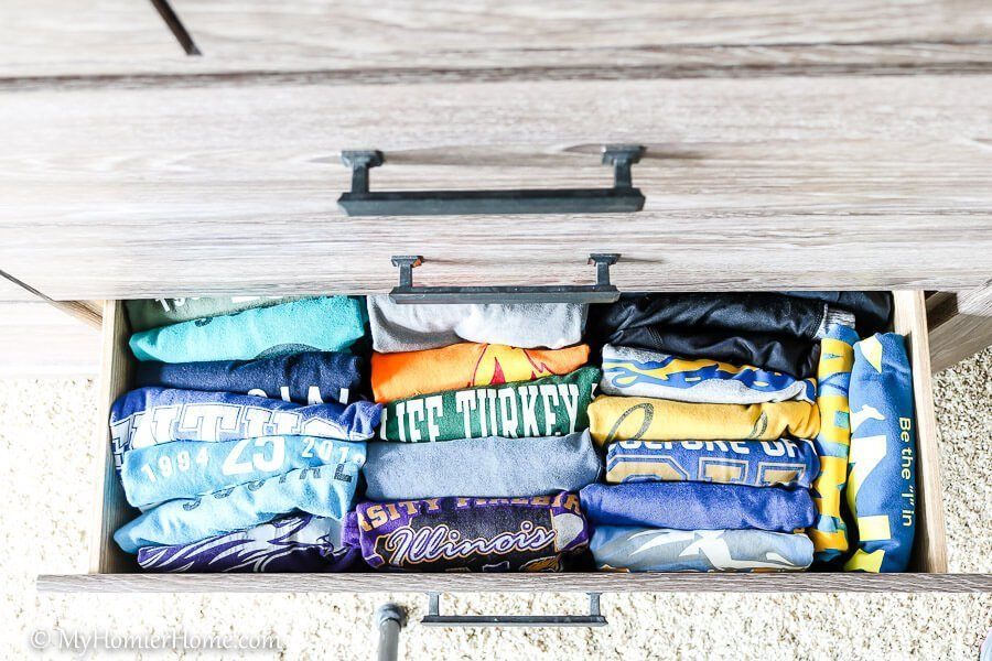 Use the KonMari folding method to put everything back in your dresser drawers, so you can easily see it all!