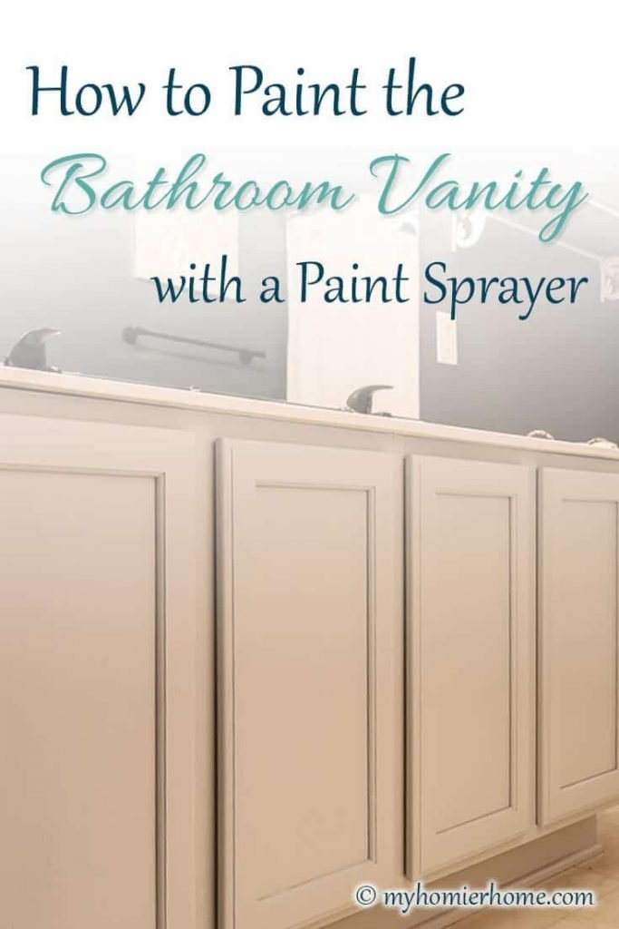 Want to speed up the process of painting your bathroom vanity? Using a paint sprayer saved me so much time and energy that I had to share my tips!