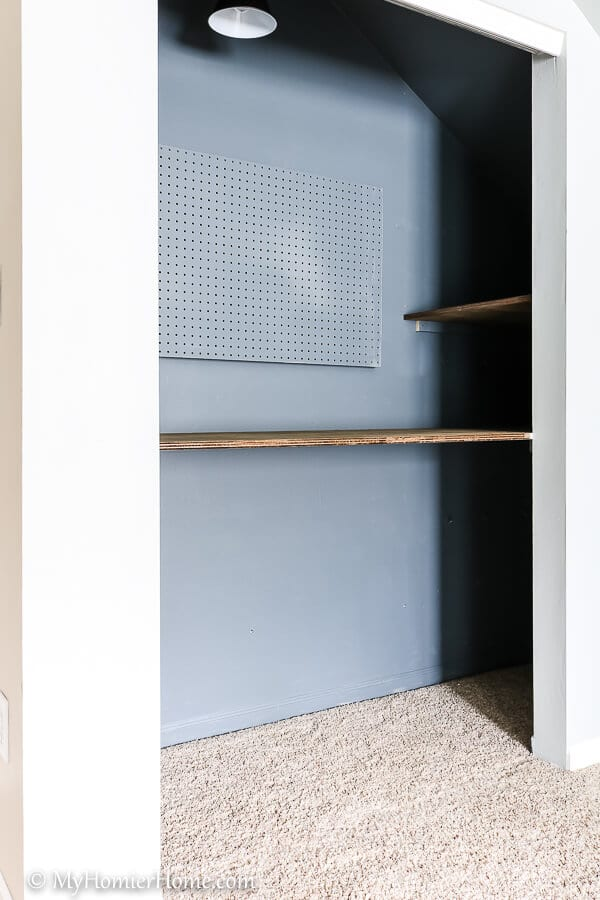 When you need more space, repurpose a closet! In our bonus room makeover, we transformed our closet into a storage and kid craft space. Check it out!