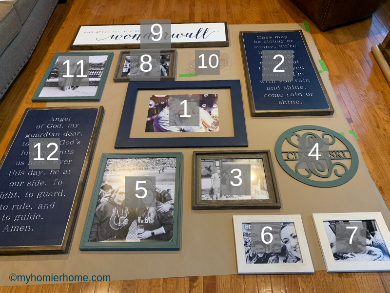 Looking for the best way to hang a gallery wall on your stairs? This tutorial has everything you need to know to make this daunting task a breeze! The order we hung our gallery wall is shown here.